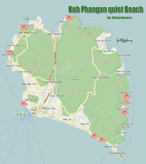 phangan beach map Clothes optional beaches